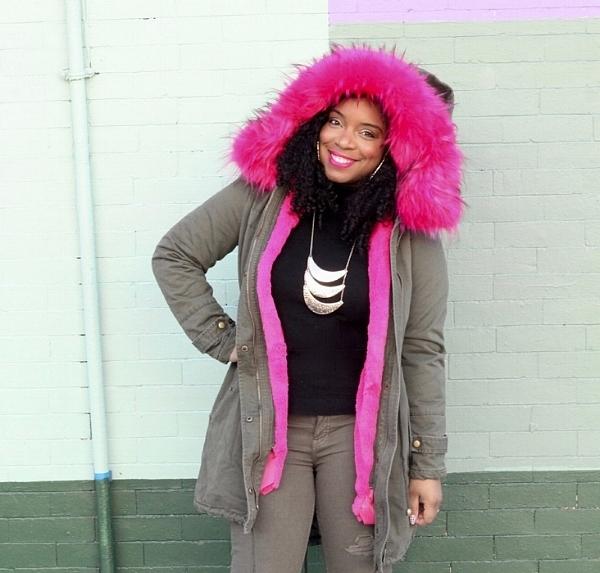 pink fur parka