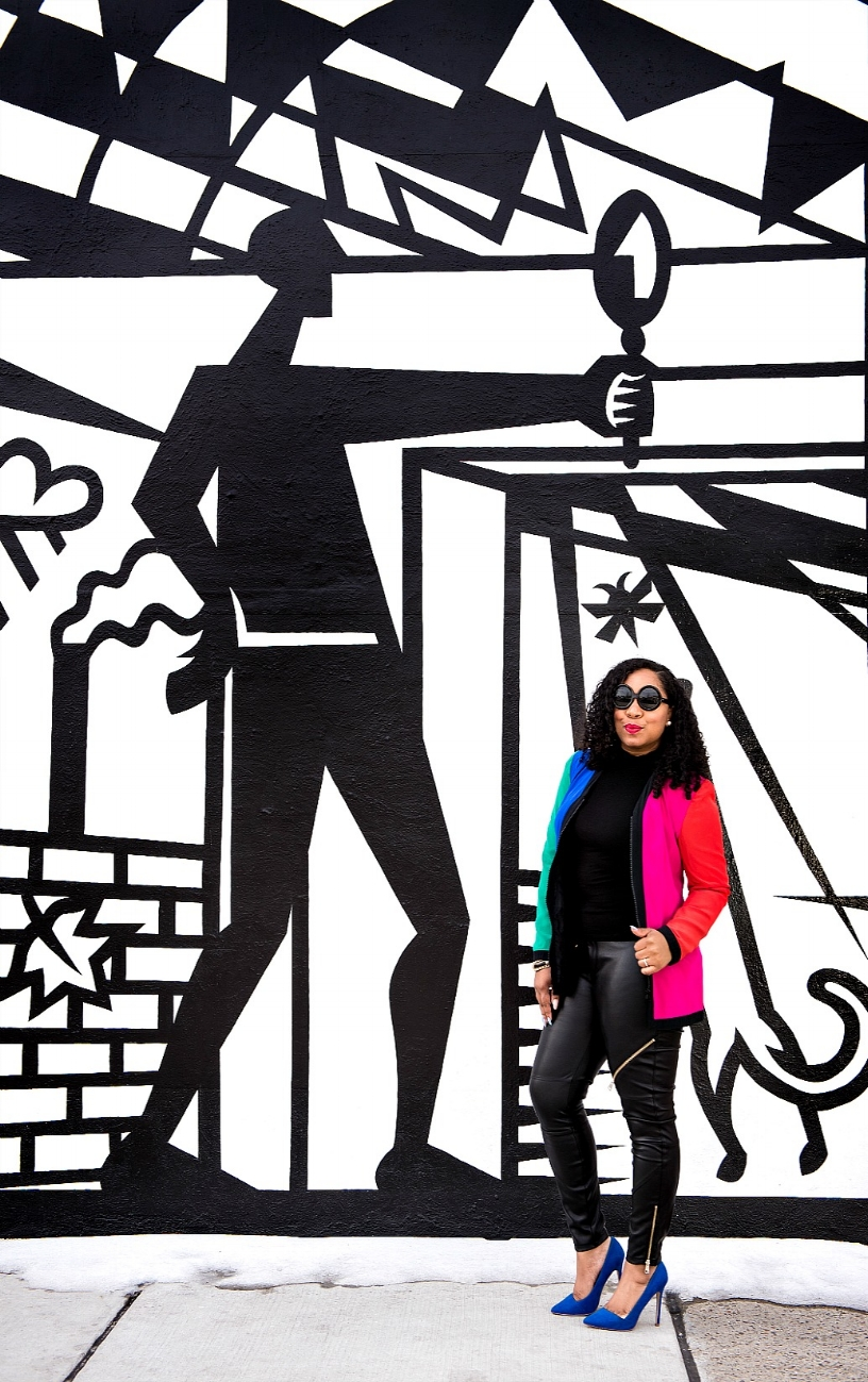 Style & Poise: Colorblock blazer, Moto Pants