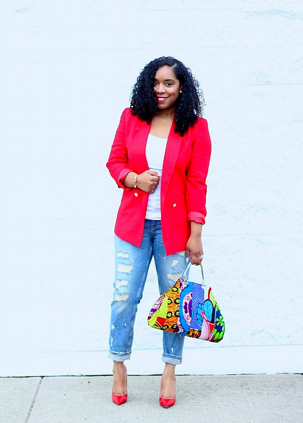 Style & Poise: Red blazer and Ankara Purse