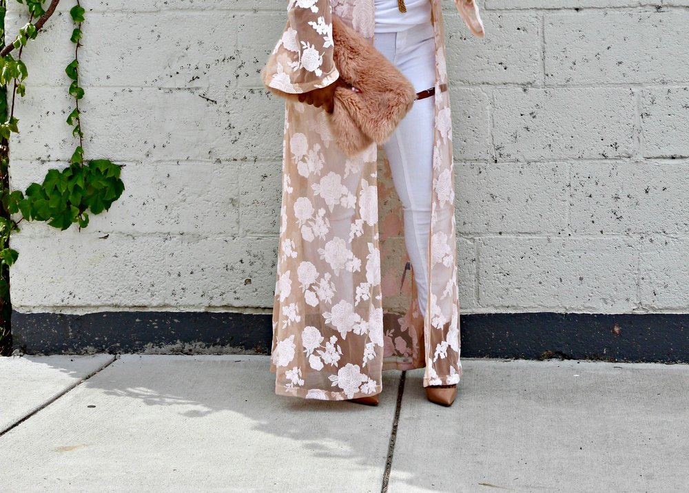 Blush Lace Duster and Faux Fur Clutch