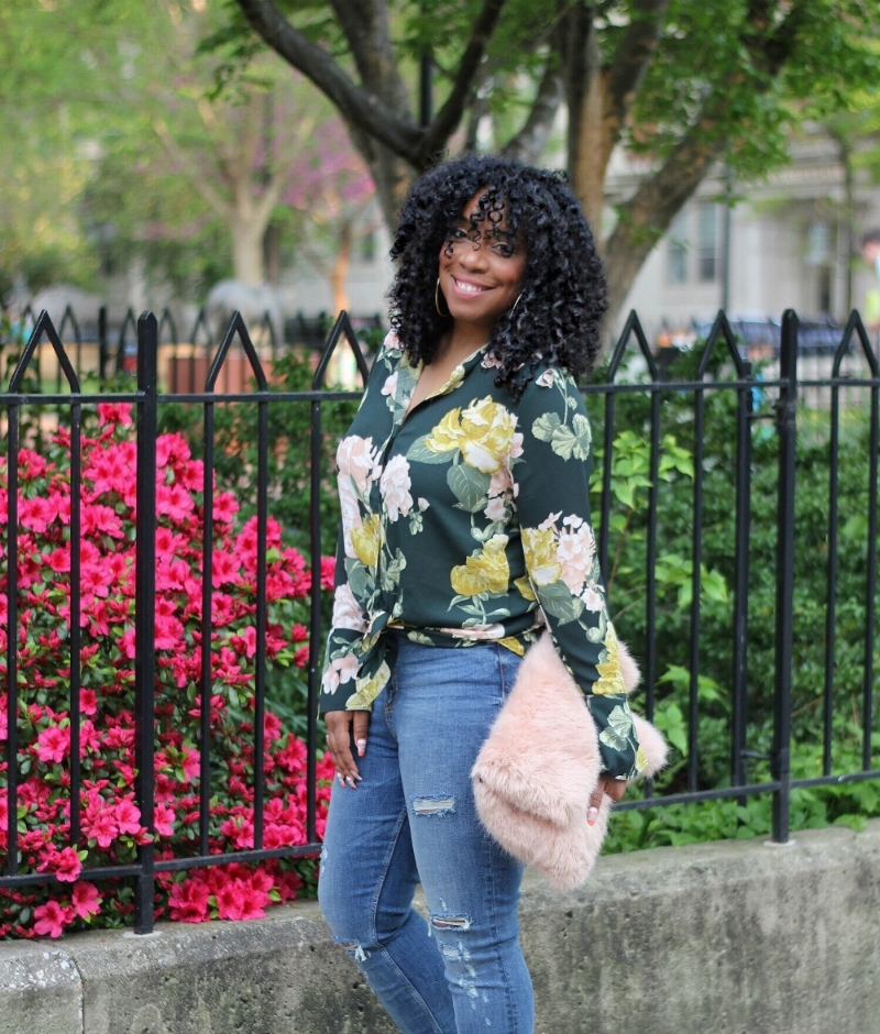 florals and distressed denim