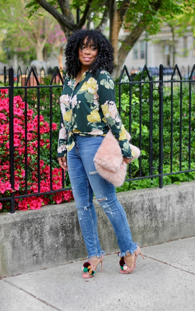 Style & Poise: Florals and Distressed Denim