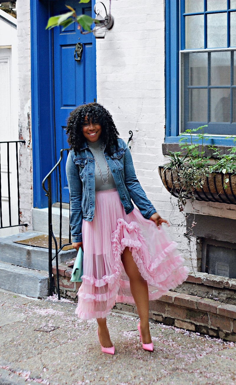 Style & Poise: Pink Ruffles, Denim Jacket, Mint Clutch, Pink Pumps