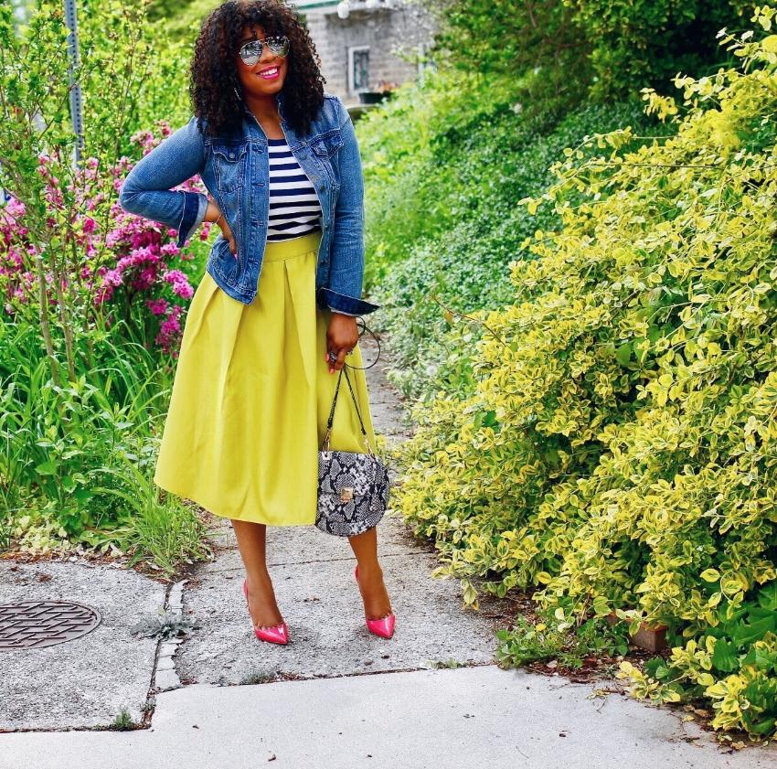 Style & Poise: Stripes, Vibrant Midi, and Denim