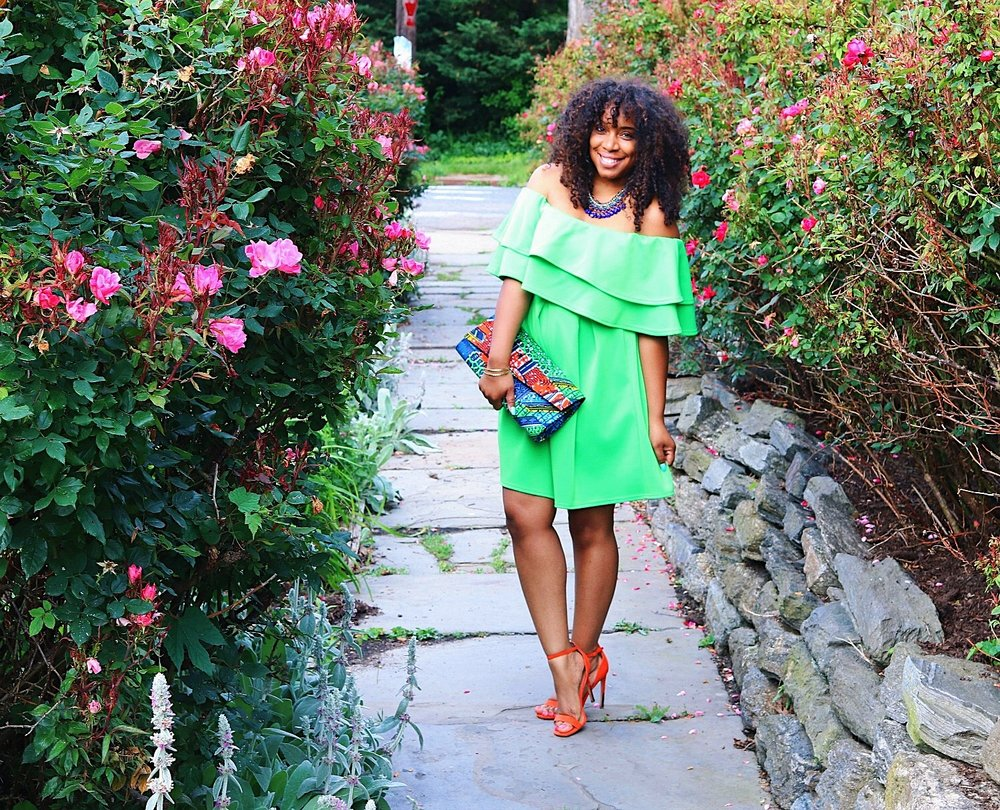 Style & Poise: Neon Green Ruffle Dress w/ African Print Clutch