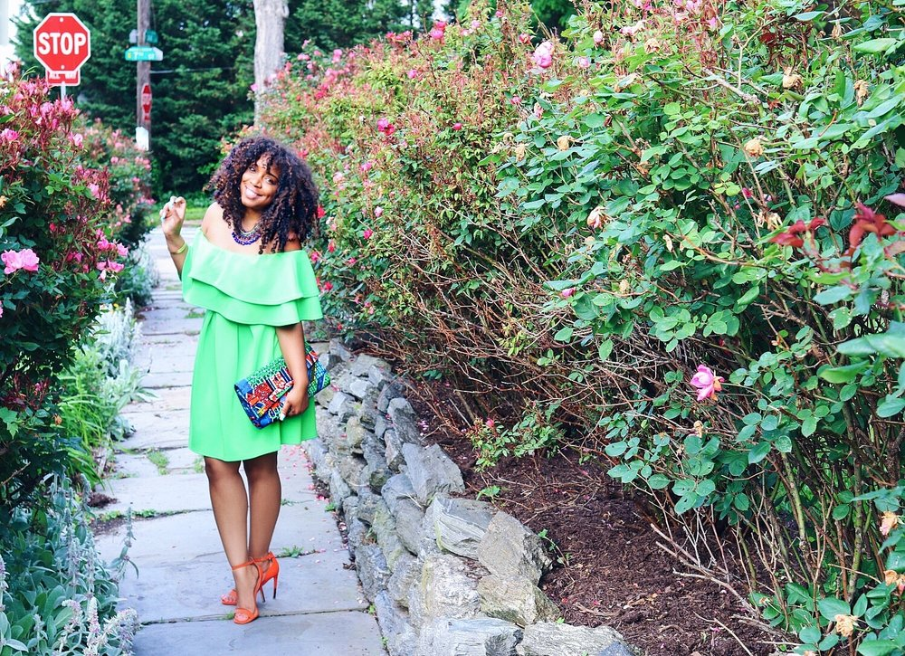 Style & Poise: Neon Green Off the Shoulder Ruffle Dress