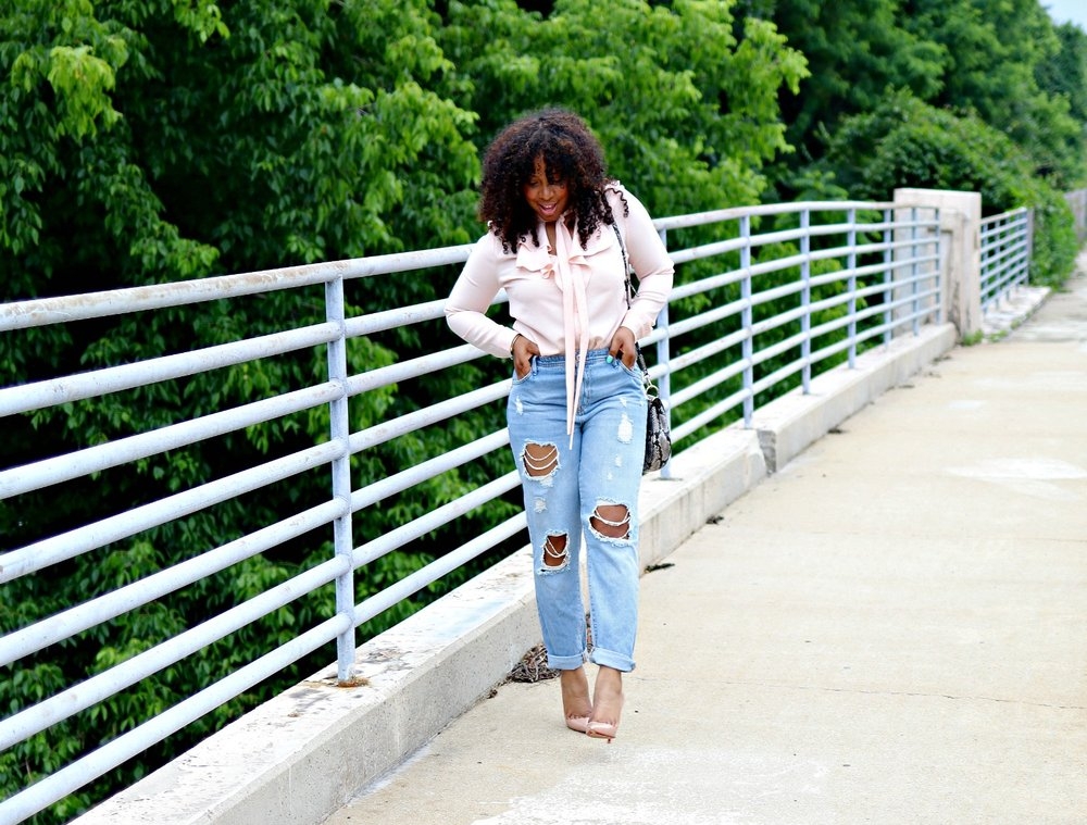 Style & Poise: Blush Pussybow blouse and Pearl embellished denim