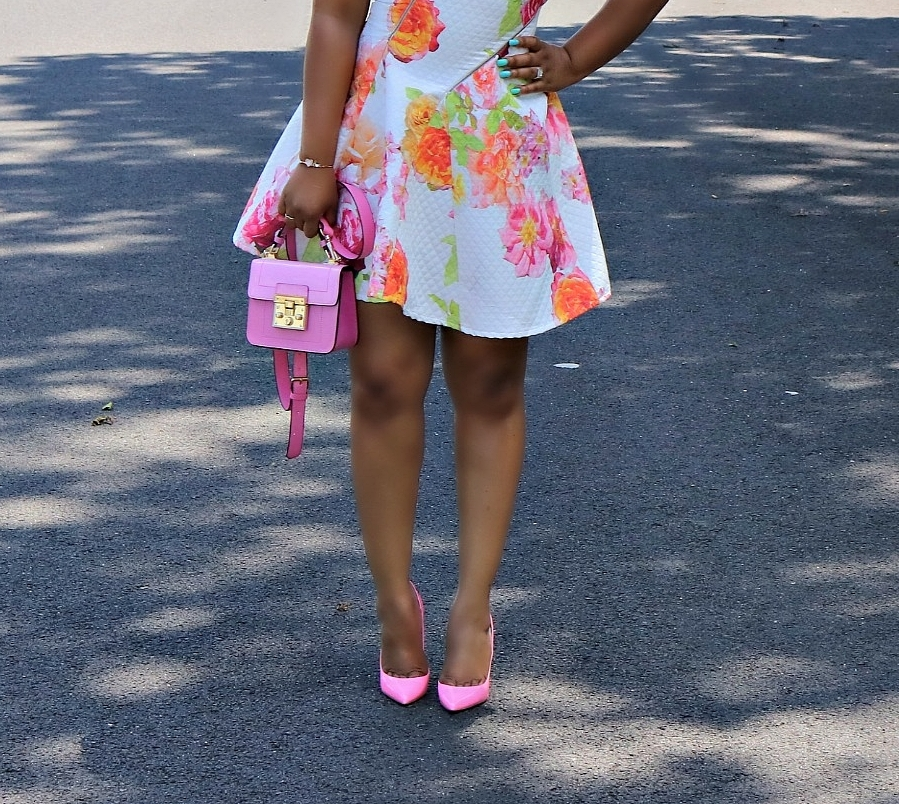 Pink Christian Louboutin Follies, Pink Mini Satchel, neon floral skater dress