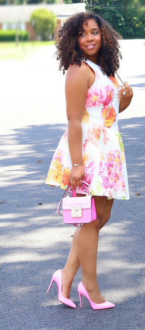 Style & Poise: Neon Floral Skater Dress