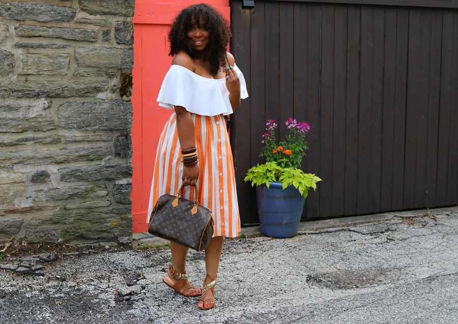 Style & Poise; Midi Skirt and Off the Shoulder Top