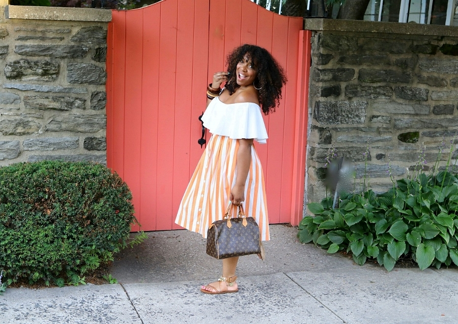 Style & Poise: Striped Midi Skirt, Off the Shoulder Top, LV Speedy