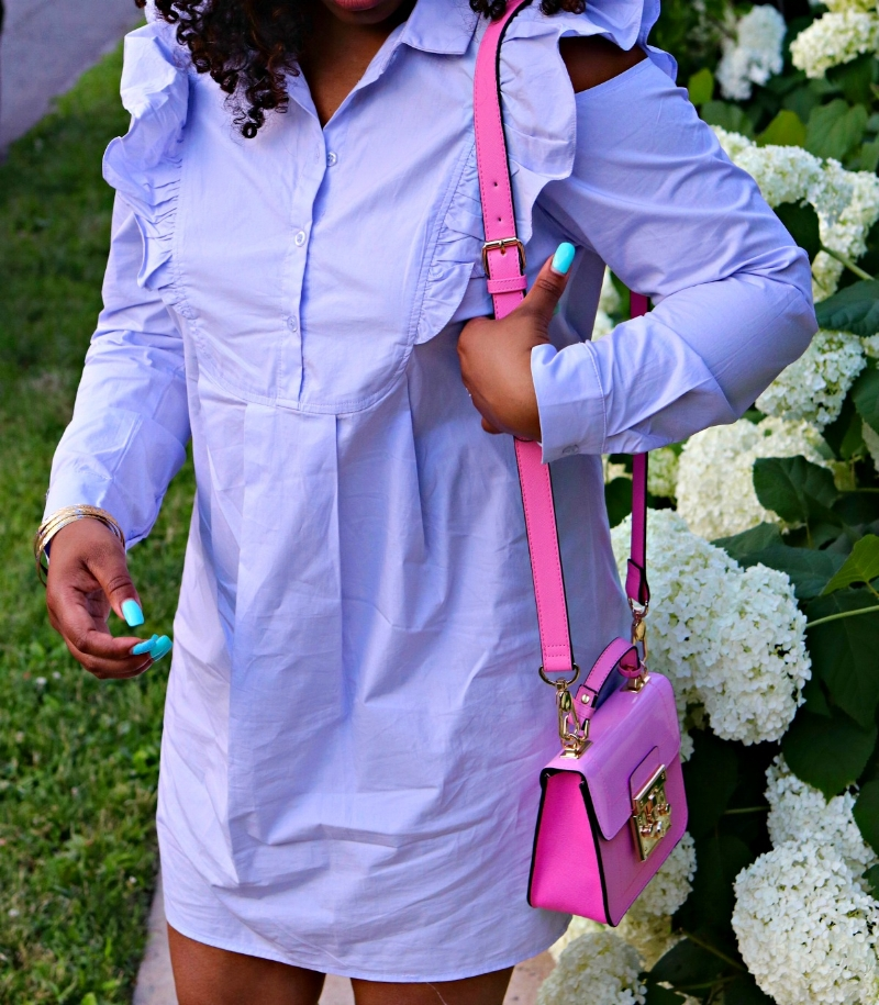 Mini Pink Purse and Ruffle Shoulder Dress