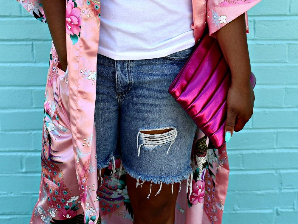 Metallic Pink Clutch, pink kimono and distressed denim shorts