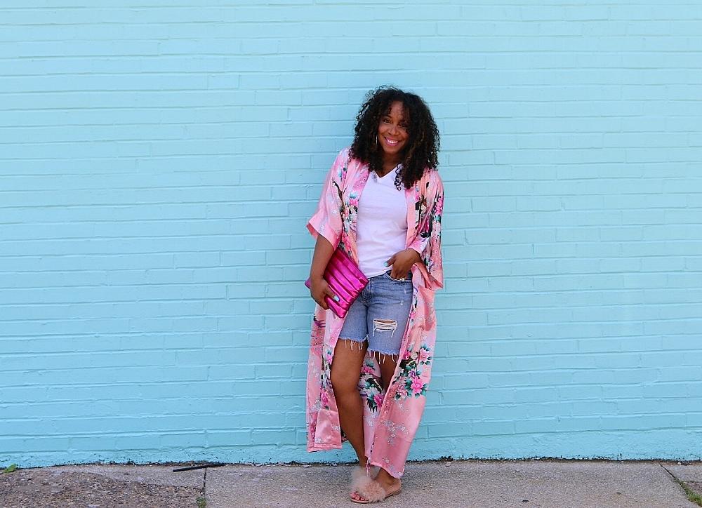 Pink Kimono and Fur Slides