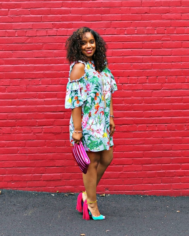 Floral Cut Out Dress, Pink Metallic Clutch, and Fringe SAndals