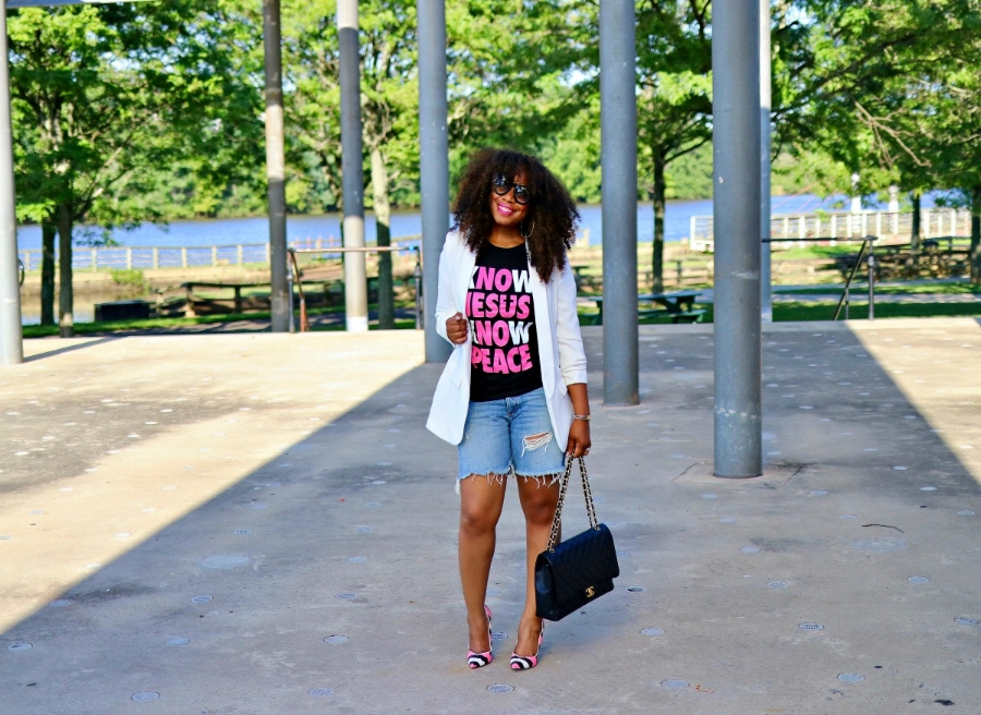 Graphic Tee, Denim Shorts, Blazer, Chanel Purse, and Snakeskin Pumps