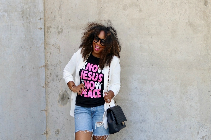 Graphic Tee, Distressed Denim Shorts, Blazer, and Chanel Maxi with Pink Snakeskin Pumps