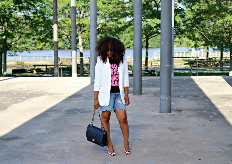 Graphic Tee, Blazer, Denim Shorts, Boyfriend Bllazer, Chanel Purse