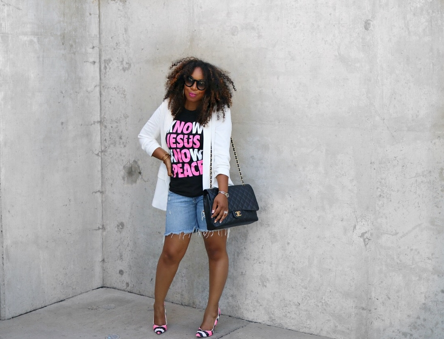 Graphic Tee, Boyfriend Blazer, Chanel Bag, Pink Pumps, Boyfriend Shorts