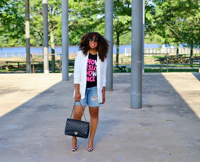 Graphic Tee, Boyfriend Blazer, Chanel Bah, Distressed Shorts, Pink Pumps