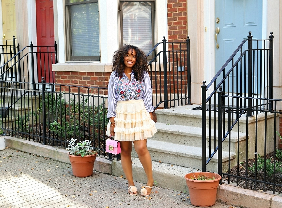 Embroidered Top, Ruffle Mini Skirt, and Pom Pom Jellies