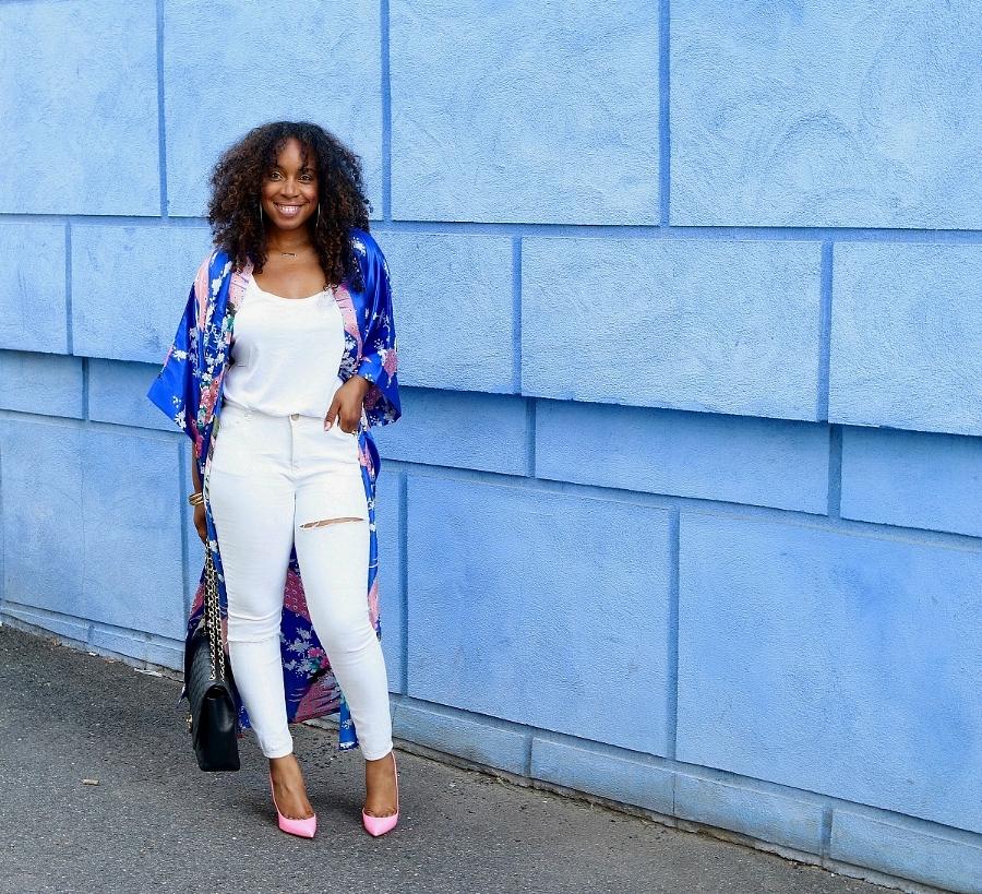 Blue Kimono, Pink Loub's, Chanel Maxi