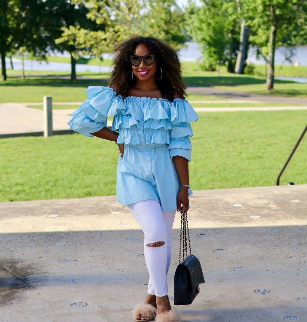 Off the Shoulder Top, Distressed White Denim, Fur Slides and Chanel Purse