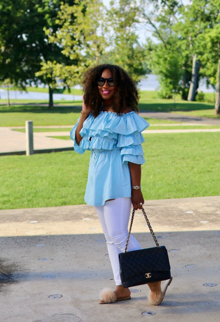 Off the Shoulder Top, White Distressed Denim, Chanel Caviar Maxi Purse, Fur Slides
