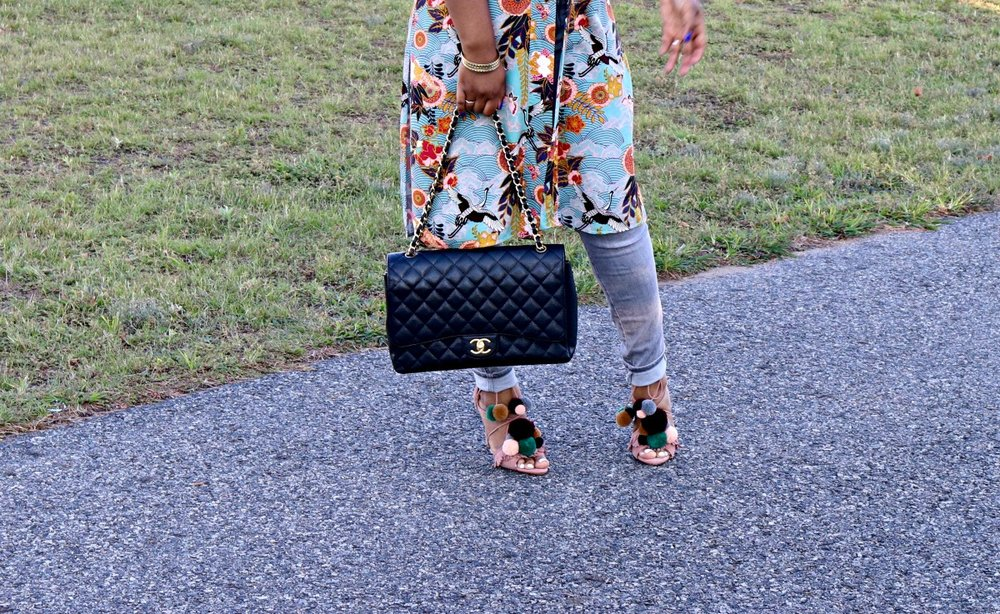 Pom Pom Heels, Zara Sandals, Chanel Maxi Purse