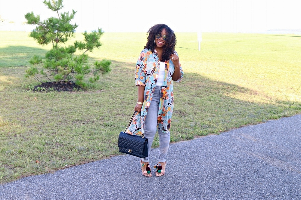 Fall Kimono and Pom Pom Heels