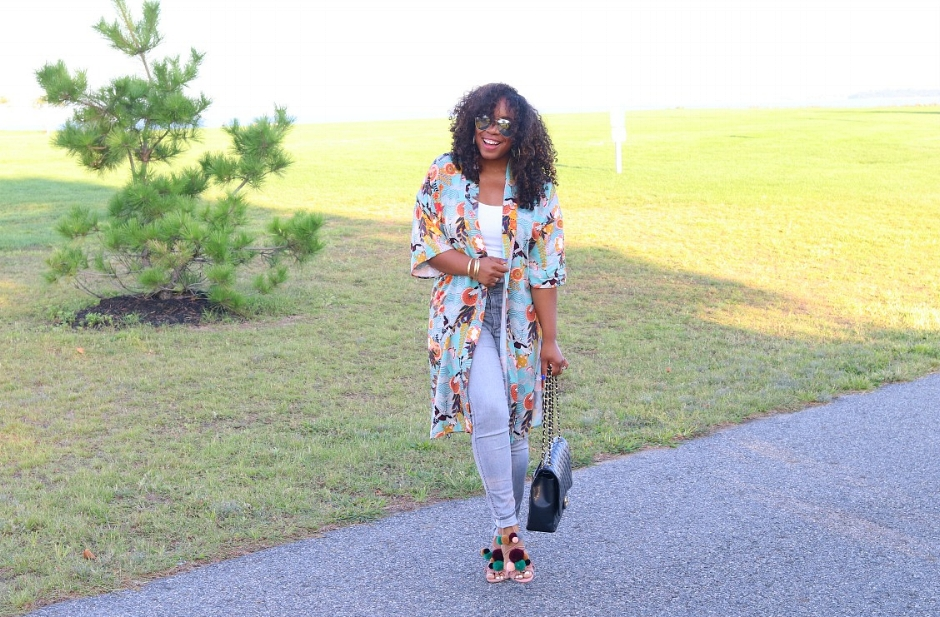 Fall Kimono, Chanel Maxi, Grey Denim and Pom Pom Heels