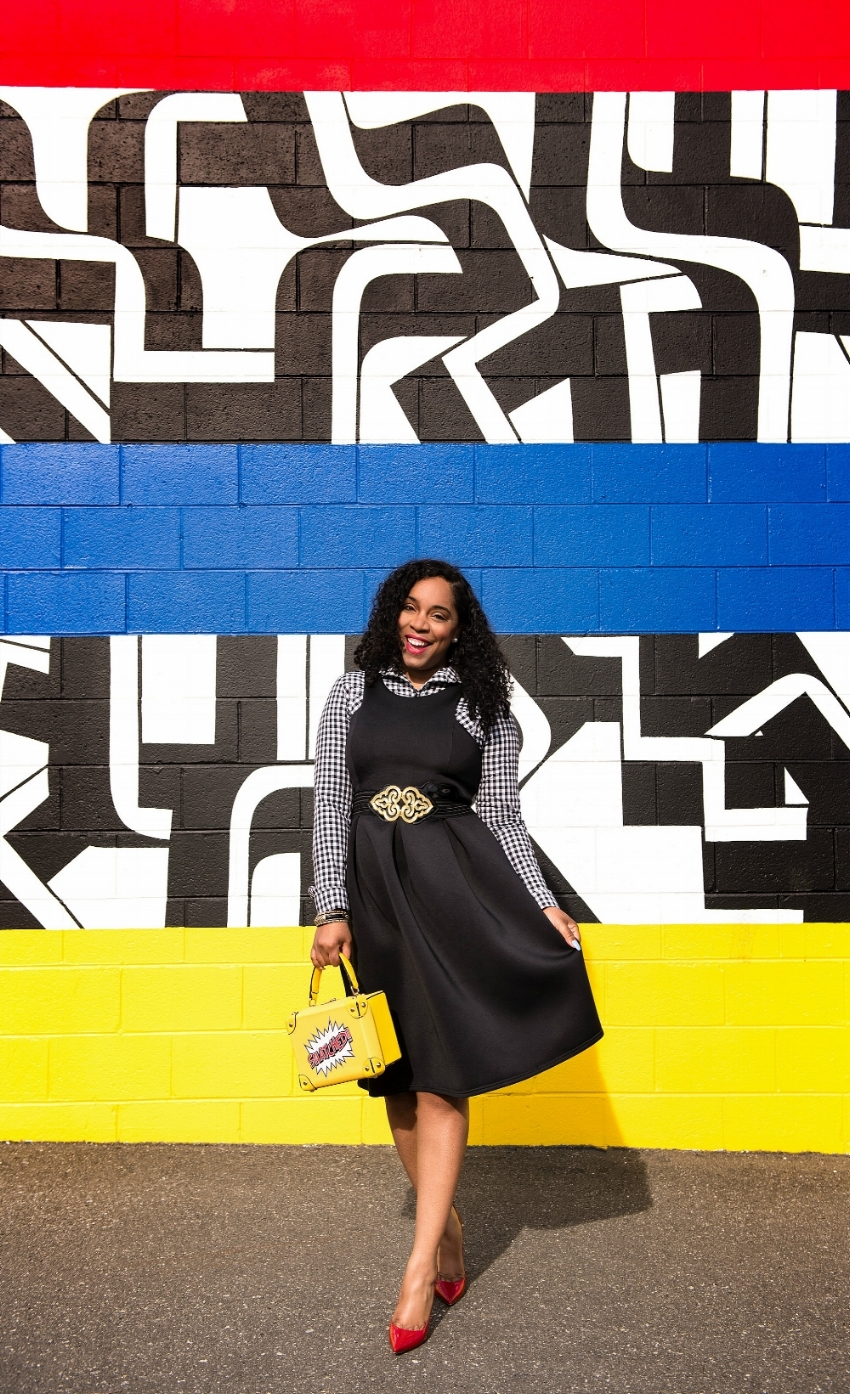 Style & Poise: Snatched-Gingham print  and Black Midi dress