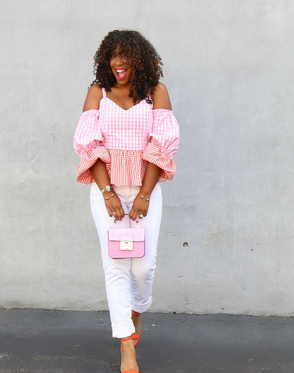 Gingham Print-Pink and Orange Top with Orange sandals