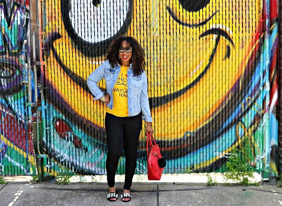 Style & Poise: Tee, denim jacket, skinnies, and pearl slides
