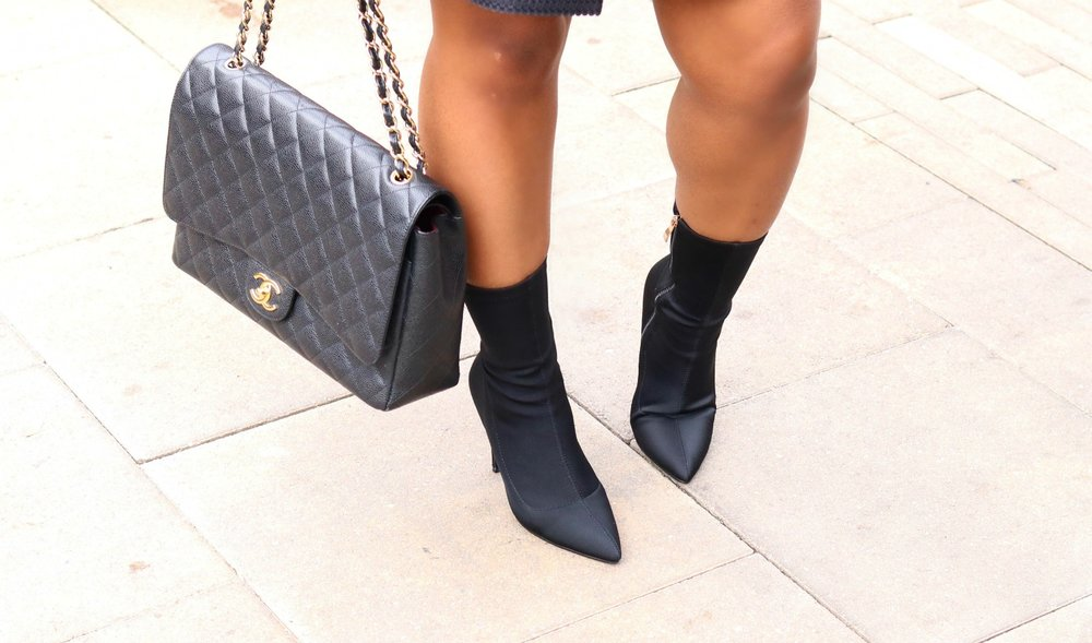 Chanel Purse and Sock Boots