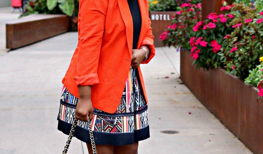 Tribal Print Skirt, Orange Blazer