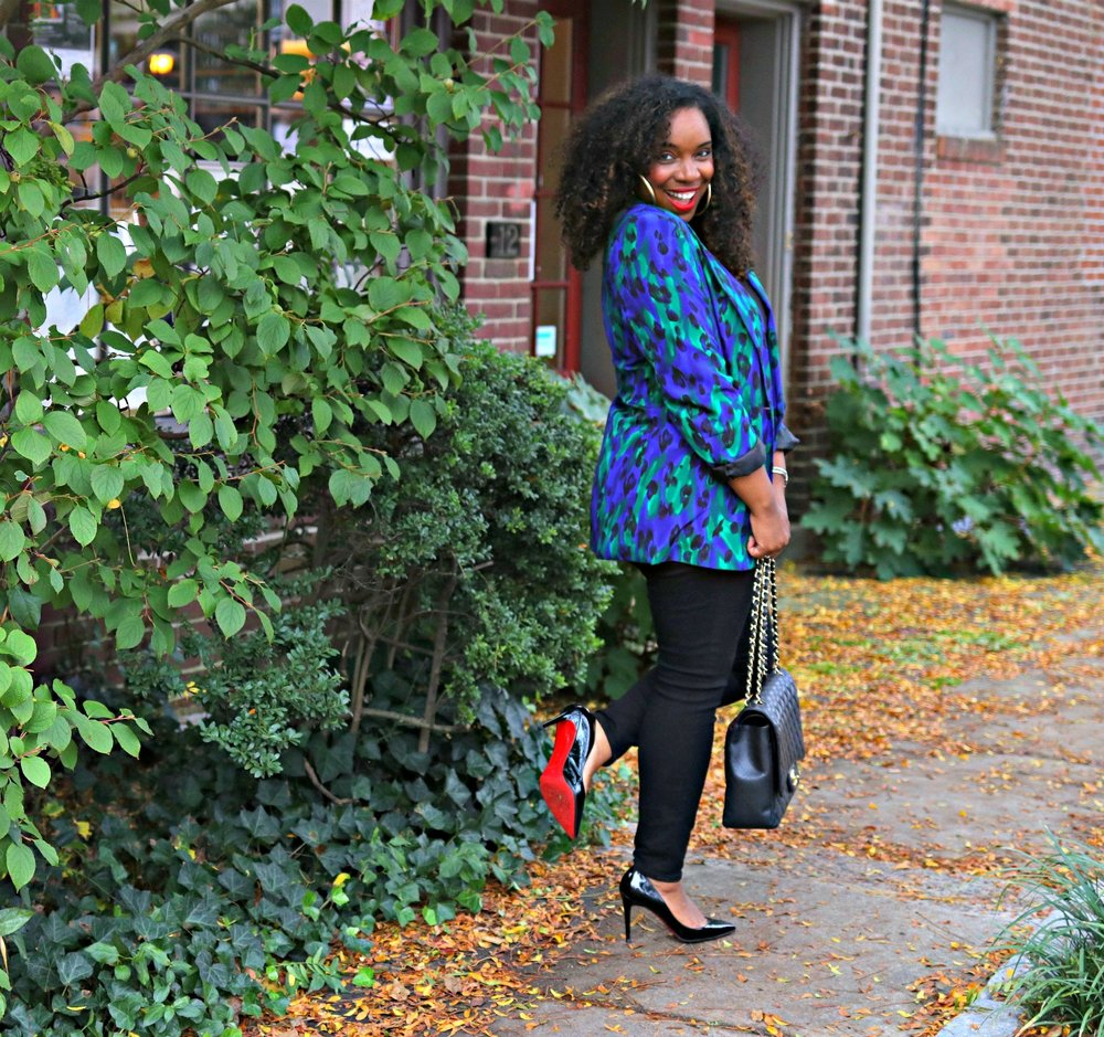 Blue Leopard Blazer, Black Skinnies, Black Pigalle, Chanel Maxi