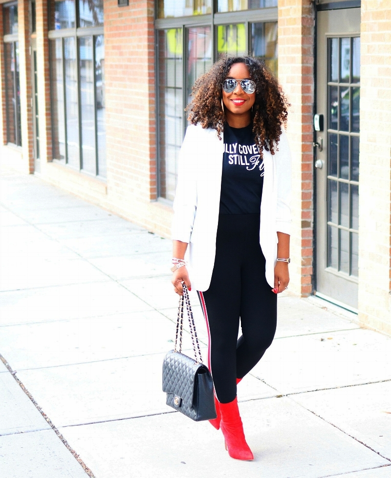 Track Pants, Red Boots, Blazer, Graphic Tee