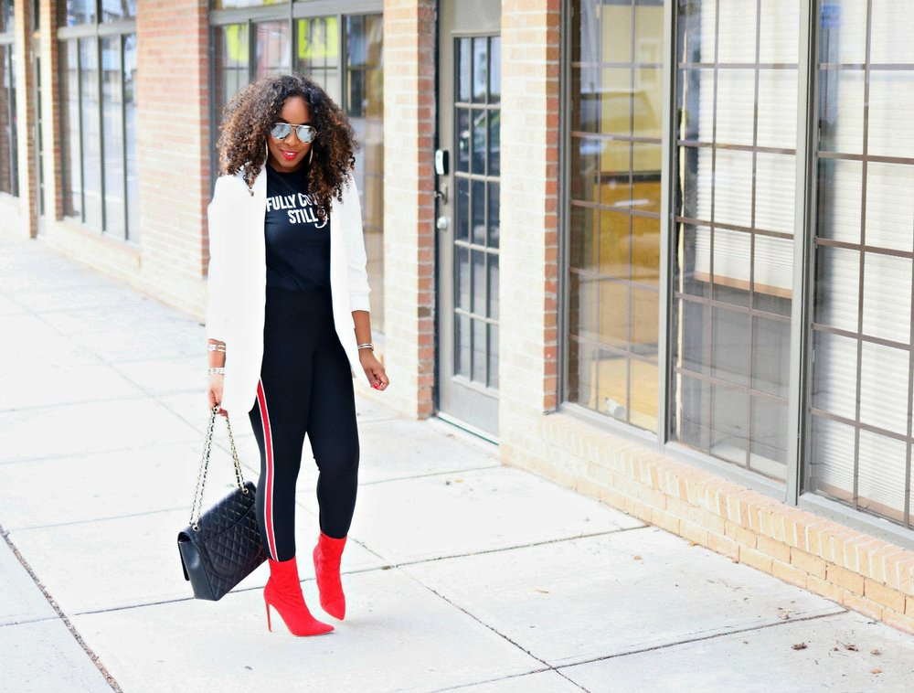 Graphic Tee, Blazer, Red Boots, Tuxedo Skinnies