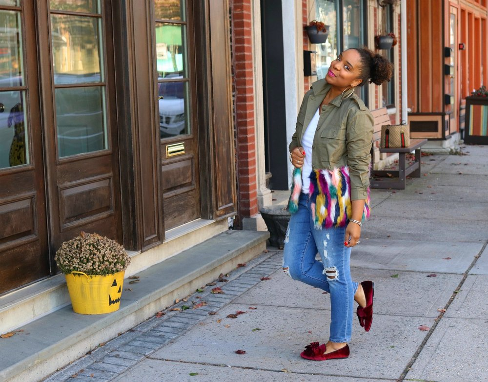 Multi Colored Fur Jacket, Bow Flats, Casual Style