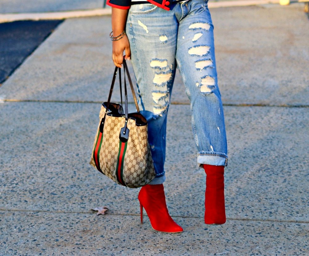 Red Booties, Distressed Boyfriend Jeans, Gucci Tote