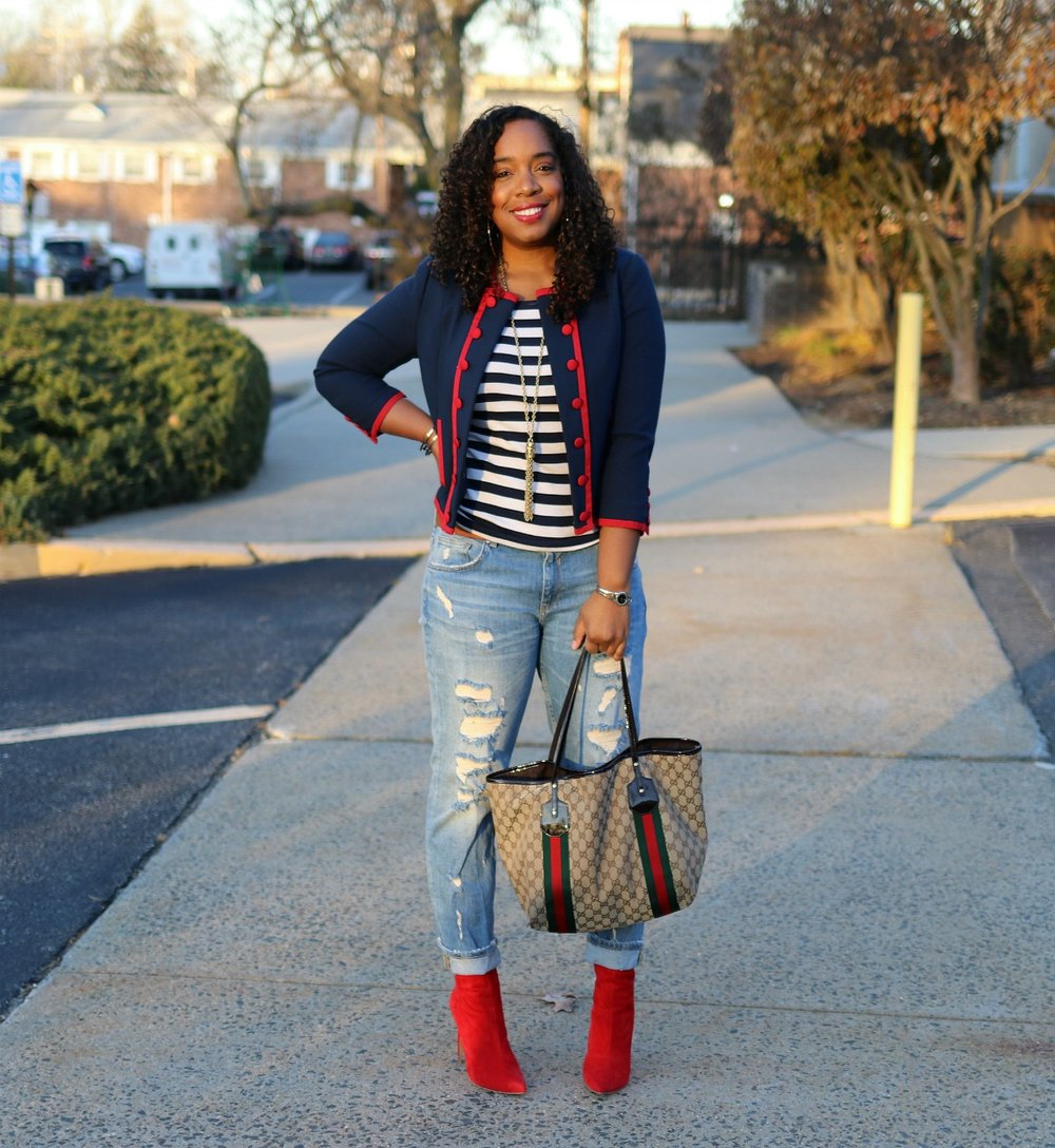 Military Chic, Distressed Denim, Red Booties, Gucci Tote