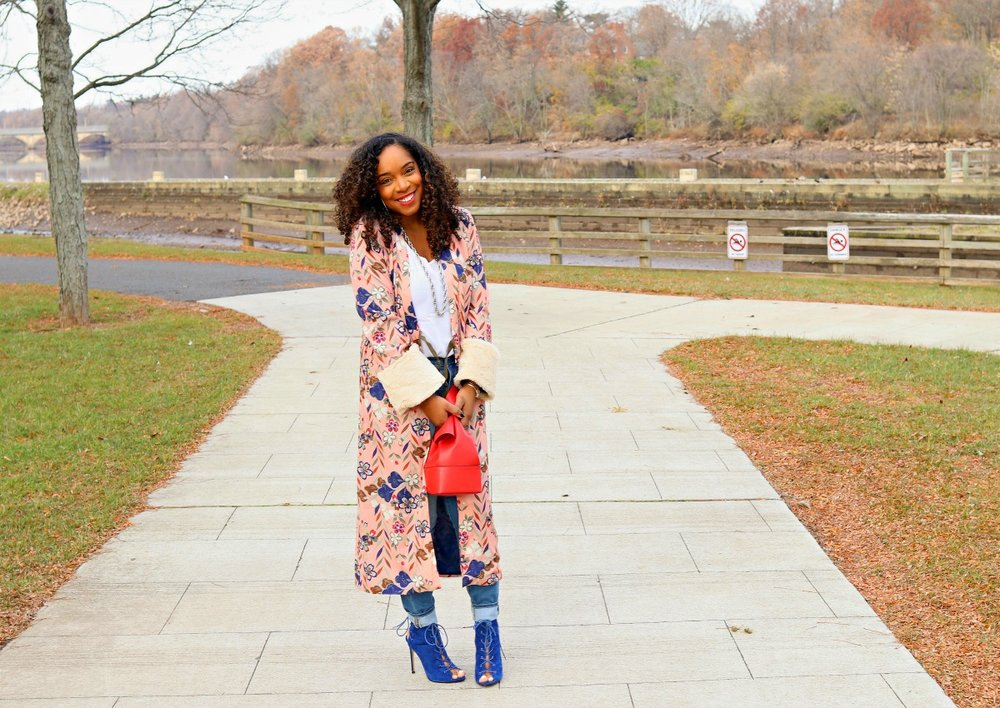 Kimono, Denim, Blouse, and Blue Booties