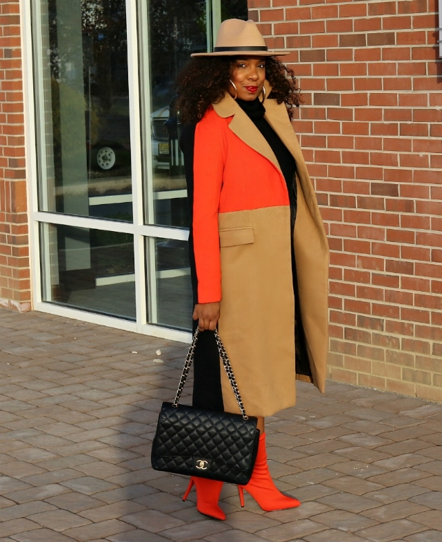Fedora, Color Block Statement Coat, Orange Booties
