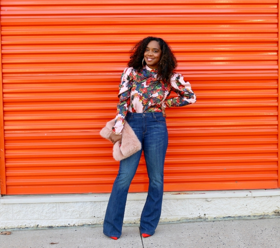 Floral Blouse, Wide Leg Denim, BlushClutch