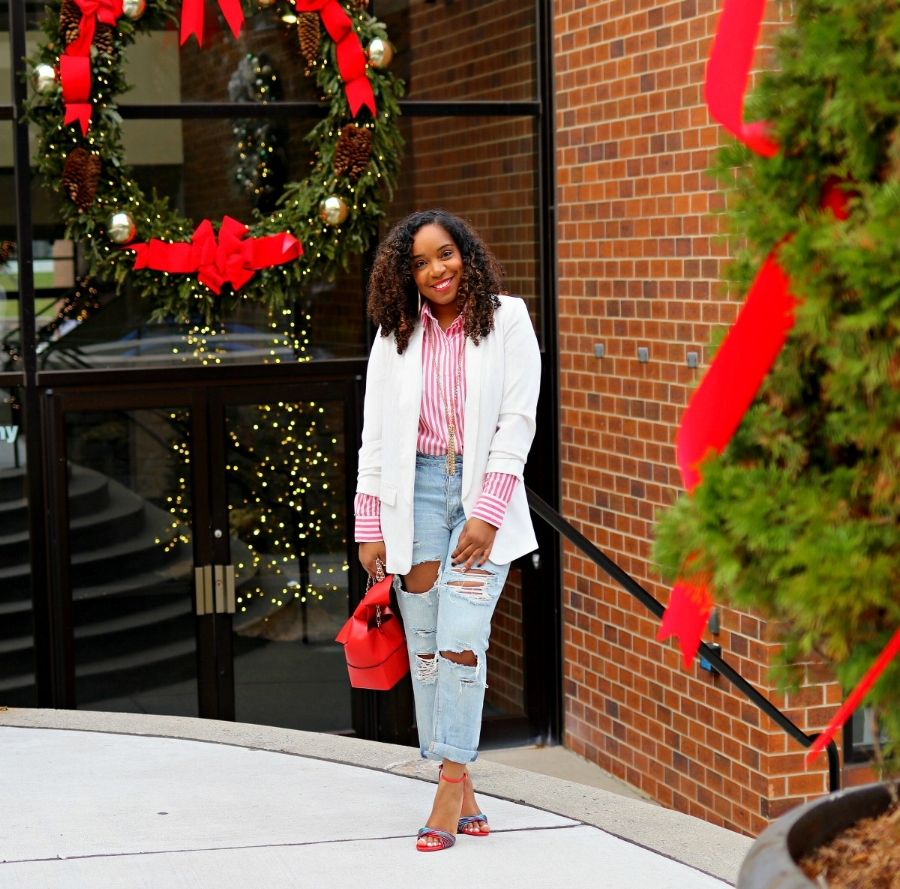 Blazer, Striped Blouse, Distressed Boyfriend Jeans