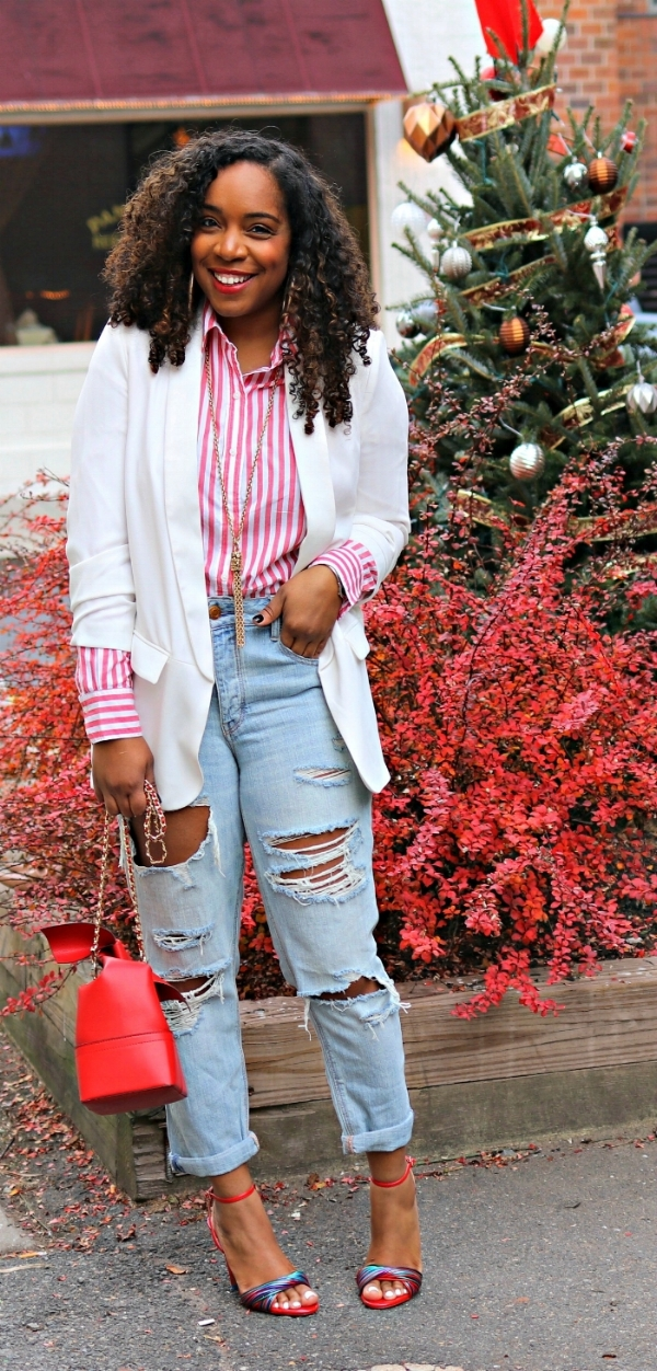 Holiday Inspiration, Stripes, Distressed Denim, Blazer