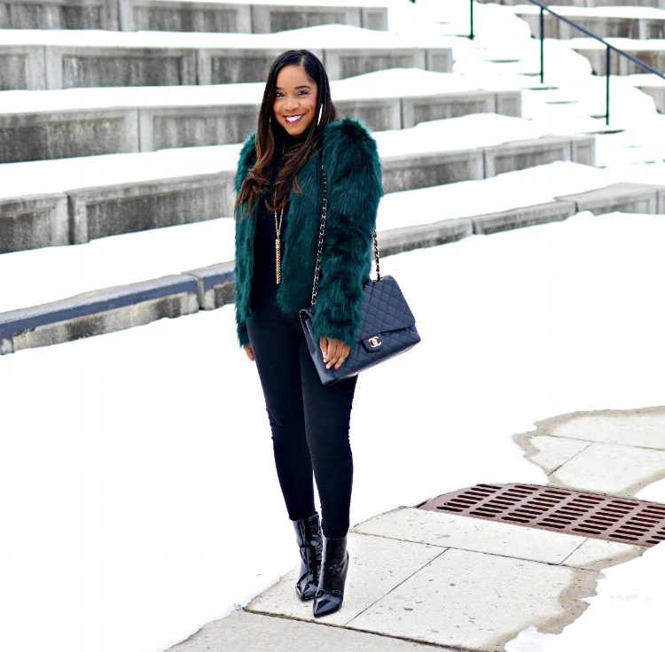 Green Faux Fur, All Black, Winter Fashion
