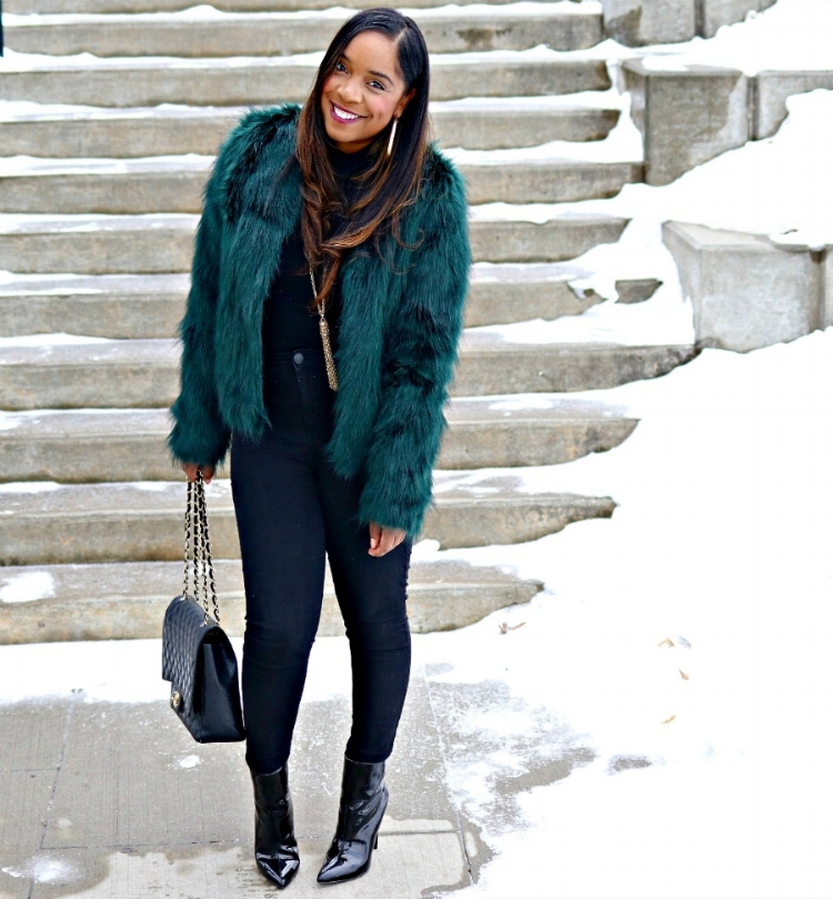 Green Faux Fur, Black Skinnies, Patent Booties