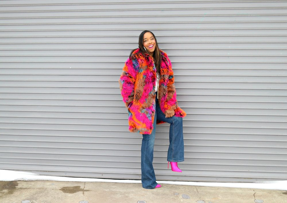 Colorful Faux Fur, Pink Booties, Flared Denim